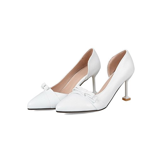 VogueZone009 Women's Pull-On PU Closed-Toe High-Heels Solid Pumps-Shoes White cBMAzFg