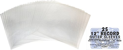 "25 DOUBLE OVERSIZE Plastic Outersleeves for 12"" Vinyl Record"