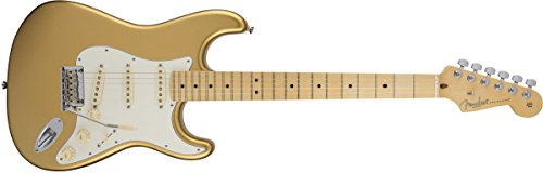 Fender American Standard Stratocaster Aztec Gold Guitar with Maple Fingerboard and Hard-Shell Case, Vintage White