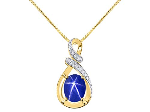 Diamond & Blue Star Sapphire Pendant Necklace in 14K Yellow Gold With 18