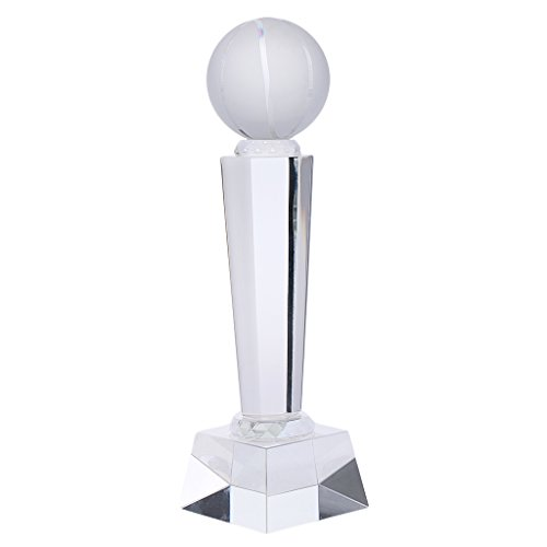 Homyl Clear Crystal Glass Trophy Champion First Place Winner 24cm Height - Basketball, as described