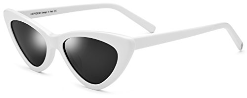 (HEPIDEM Acetate Sexy Cateye Polarized Sunglasses for Women with Cat Eye Frame 9104T (White))