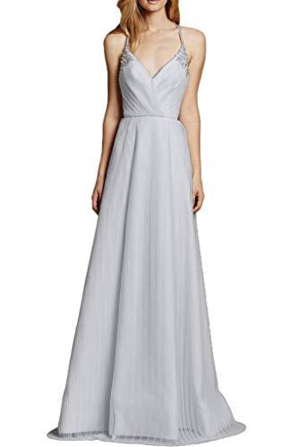 mia Brautjungfernkleider Abendkleider Partykleider Chiffon Spaghetti Linie Neuheit Braut Traeger A La Silber Lang Festlich dxwYqg8dH