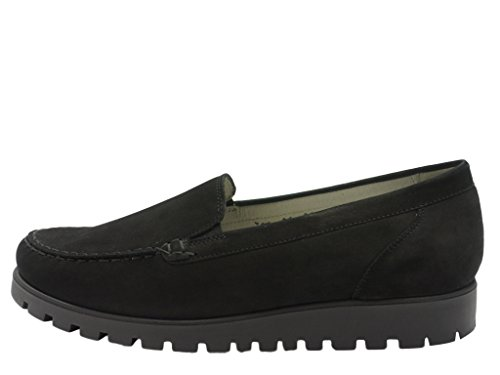 Waldläufer Hegli, Nubuck, Slipper 549001-191-001 Zwart (black)