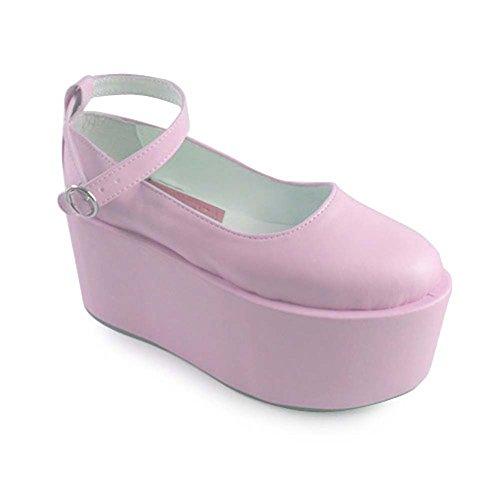 AvaCostume Womens Solid Color Platform Mary Jane Pumps Shoes Pink hu6JoIPEU