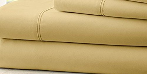 [Hotel Comfort 1800 Count Deep Pocket 4 Piece Bed Sheet Set Gold King] (Halloween Costume Ball Nyc)