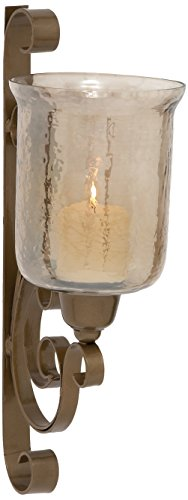 Deco 79 Metal Glass Wall Candle Sconce, Brown, 11 by 20-Inch