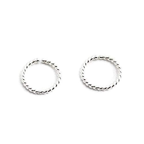 SS-OP-D9-18GA-TW-HOOPS Handmade Jewelry Round Twisted Sterling Silver Wire Hoop Earrings