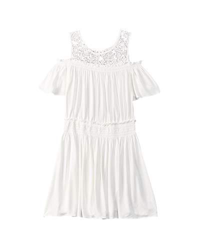 Ella Moss Big Girls' Cold Shoulder Dress, Full Sail, 7/8 -