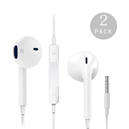 SPO4u Earphones with Microphone [2 Pack] Premium Earbuds Stereo Headphones and Noise Isolating headset Made for Apple iPhone iPod iPad - White (white).