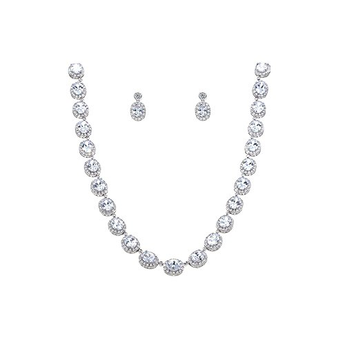 Tennis Oval Necklace & Earrings Jewelry Set Clear AAA Cubic Zirconia Rhodium Plated (Silver) - Tennis Jewelry Set