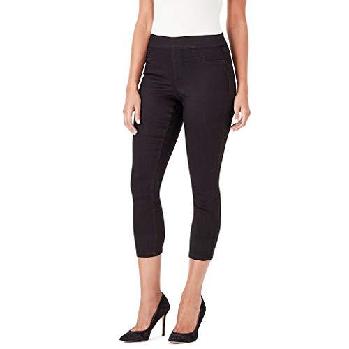 Nine West Womens Heidi Pull-On Skinny Crop Jeans (Black, 4) ()