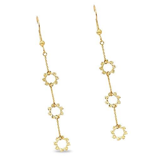 Flower Dangle Earrings Solid 14k Yellow Gold Long Hanging Chain Diamond Cut Fancy Style 72 x 8 - Diamond Open Flower Earrings