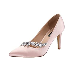 ERIJUNOR Pointed Toe Mid Heels Wedding Party Evening Dress Pumps for Women