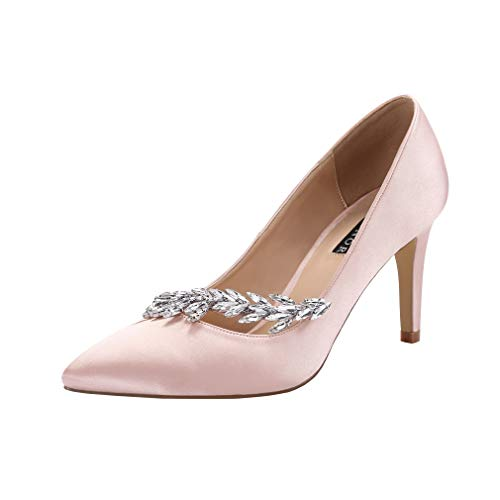 ERIJUNOR E0017 Pointed Toe Mid Heels Wedding Party Evening Dress Pumps for Women Blush Size 8