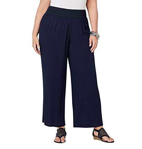 (Avenue Women's Crinkle Gauze Wide Leg Pants, 26/28 Navy)