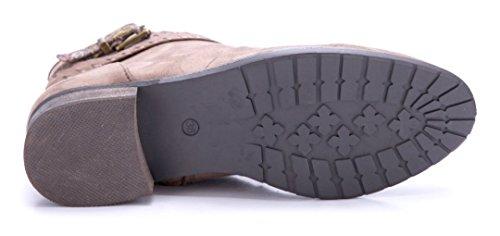 Schuhtempel24 Damen Schuhe Klassische Stiefeletten Stiefel Boots Blockabsatz Schnalle 3 cm Khaki
