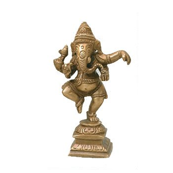 Recycled Brass Statue - Dancing Ganesha (Statues Recycled)