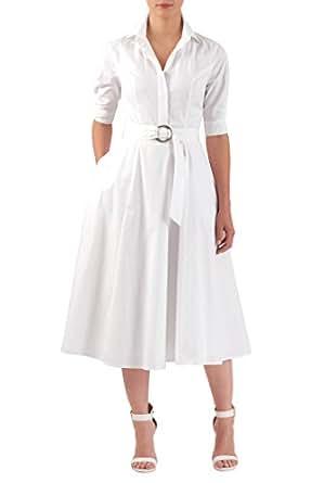 eShakti Women's Belted cotton poplin midi shirtdress XS-0 Regular White