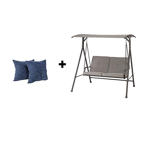 Mainstay- Outdoor Swing Lounge Big and Tall Porch Swing Fade-Resistant 2-seat, Gray