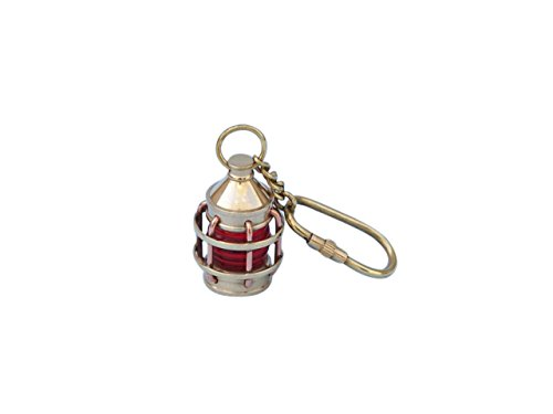 Hampton Nautical Solid Brass Anchor Red Lantern Key Chain, 5