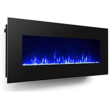 "3G Plus 50"" Electric Fireplace Wall Mounted Heater Crystal Stone Fuel Effect 3 Changeable Flame Color w/Remote- Black"