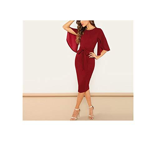 Weekend Casual Round Neck Flutter Sleeve Self Belted Pencil Dress Modern Casual Women -