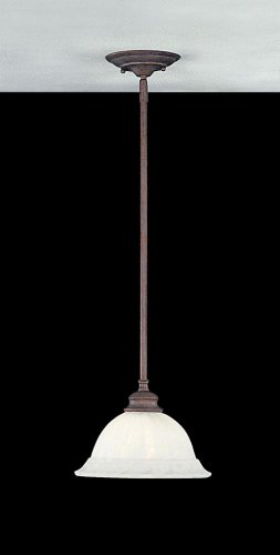 Murray Feiss P1050WP Neo Classic One-Light Pendant in Weathered Patina and White Alabaster - Light Classic One Neo