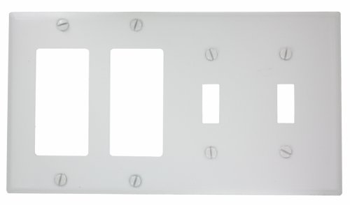 Leviton P2262-W 4-Gang 2-Toggle Decora/GFCI Device Combination Wallplate, Device Mount, White Four Gang Toggle