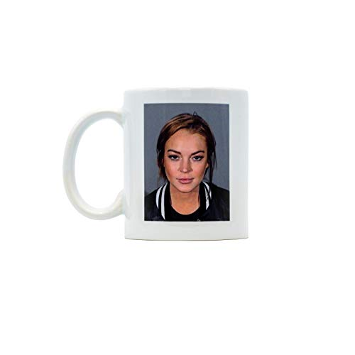 Lindsay Lohan Mugshot Mug, Ceramic Mug, Coffee Mug, Tea Mug, Novelty Mug, Celebrity Mug, Joke Mug