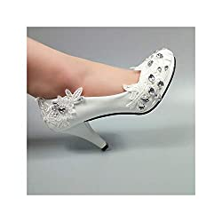 Women's White Flower Crystal Wedding Shoes