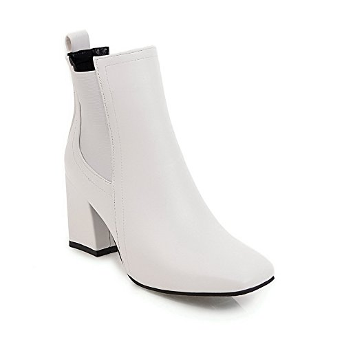BalaMasa Womens Solid Square-Toe Chunky Heels Urethane Boots ABL10662 White