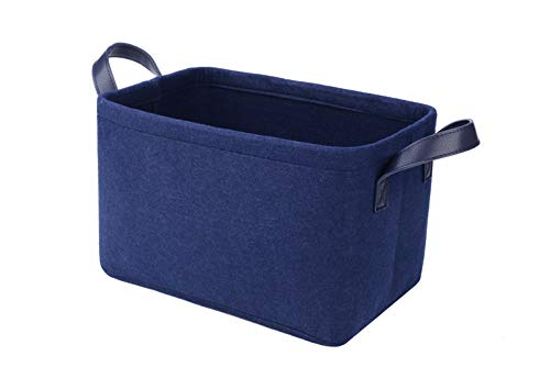 Rhyan Felt Storage Basket/Bin with PU Handles, Collapsible & Convenient Storage Solution for Office, Bedroom, Closet, Toys, Laundry(Navy Blue) -