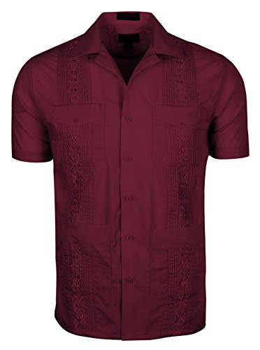 Volcan Men's Short Sleeve Cuban Guayabera Shirts (S, GUA01-Burgundy)
