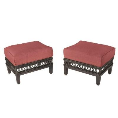 Hampton Bay DY9127-O-R Woodbury Rust-resistant Aluminum Weather-resistant Fabric Patio Ottoman with Dragon Fruit Cushion (2-pack) by Hampton Bay