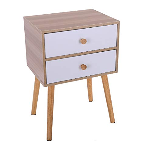 Small Nightstand,Jchen 【Ship from USA】 North American Modern Minimalist Bedside Cabinet Storage End Side Table Nightstand with Storage Drawer Solid Wood Legs Living Room Bedroom Furniture (Yellow) (Sal's Furniture)