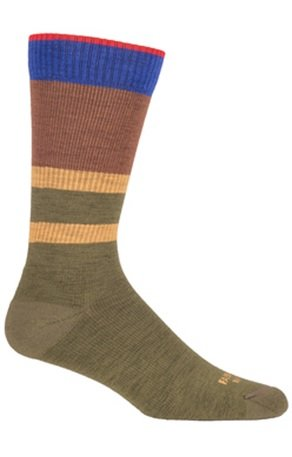 Farm to Feet Petaluma Stripe Crew Socks, Winter Moss/Mustang, - Petaluma The Shop