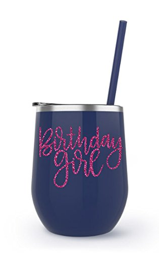 Glitter Birthday Girl Wine Tumbler 12 oz Stainless Steel Metal Wine Glasses Sippy Cup with Lid and Straw (Navy BevSteel - Birthday Girl (HP Glitter))