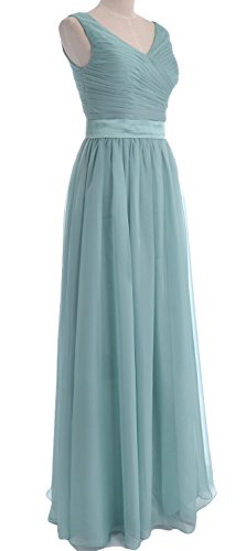 Dress Bridesmaid Straps Dunkelgrun MACloth Long Party V Chiffon Gown Women Neck Wedding q110wHB
