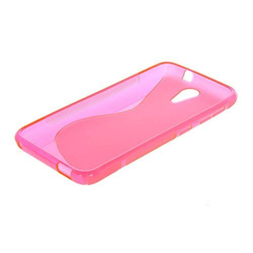 MOONCASE S-Wave Flexible Soft Gel TPU Silicone Skin Slim Back Case Cover for HTC Desire 620G Hot pink