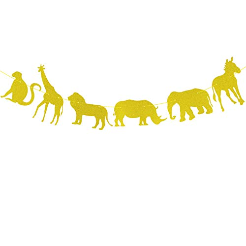 Gold Glitter Jungle Safari Animal Banner Zoo Themed