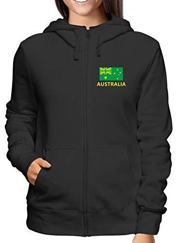 Cappuccio Felpa E shirtshock Wc0030 Nero Australia Zip T Donna BqTSvzx