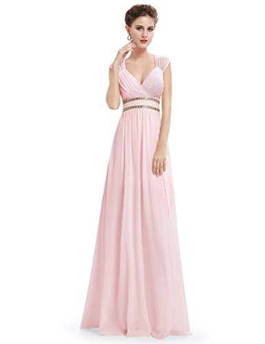 (Ever-Pretty Womens Maxi A-Line Floor Length Chiffon Bridesmaid Dress 16 US Pink)