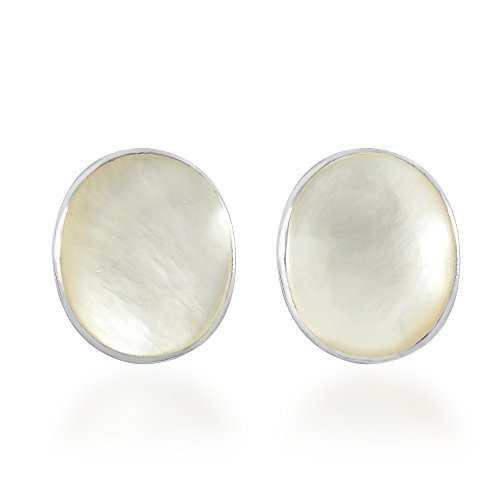 Classy Oval White Mother of Pearl .925 Sterling Silver Post Earrings (Handcrafted Mother Of Pearl Earrings)