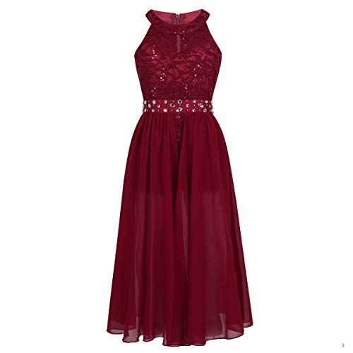 iEFiEL Girls Halter Lace Chiffon Flower Wedding Bridesmaid Dress Junior Ball Gown Formal Party Pageant Maxi Dress Burgundy Floor Length 14
