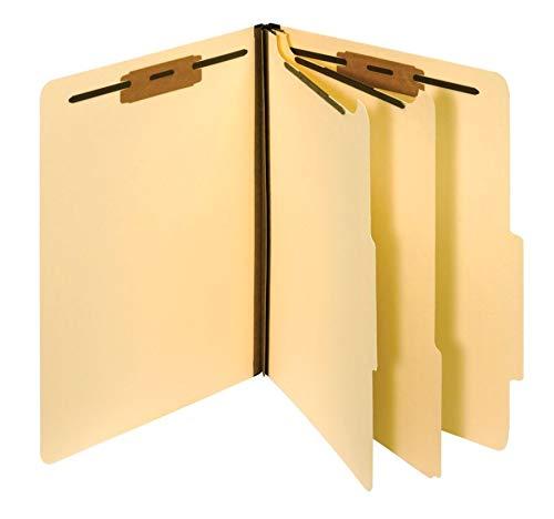 Pendaflex Manila Classification File Folders, 2 Dividers, 2' Bonded Fasteners, 2/5 Tab Cut, Letter Size, Manila, Box of 10 (24000P)