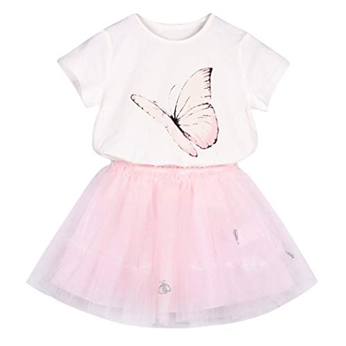 - WOCACHI Toddler Kid Baby Girls Outfits Clothes Butterfly Printed T-shirt+Tutu Skirt Set Infant Bodysuits Rompers Clothing Sets Christening Short Sleeve Organic Cotton Sunsuits