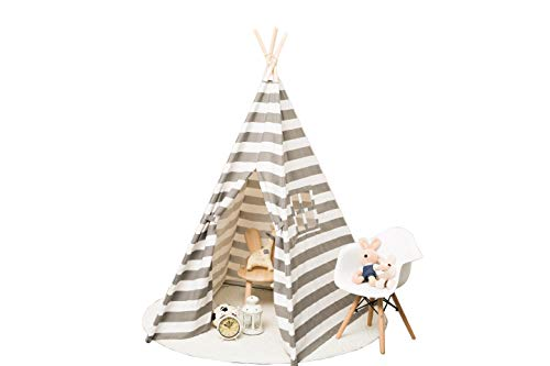 Small boy Kids Canvas Teepee Play Tent Indian Playhouse Striping