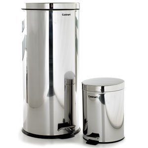 cuisinart 30 liter round stainless steel step trash can wbonus 5 liter can