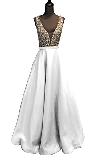 Custom Design Dress - YuNuo Gorgeous V Neck Beaded Crystal Brown Long Prom Dresses 2018 Custom Made Sexy Floor Length Evening Dress Long Formal Party Gowns S5white-US2